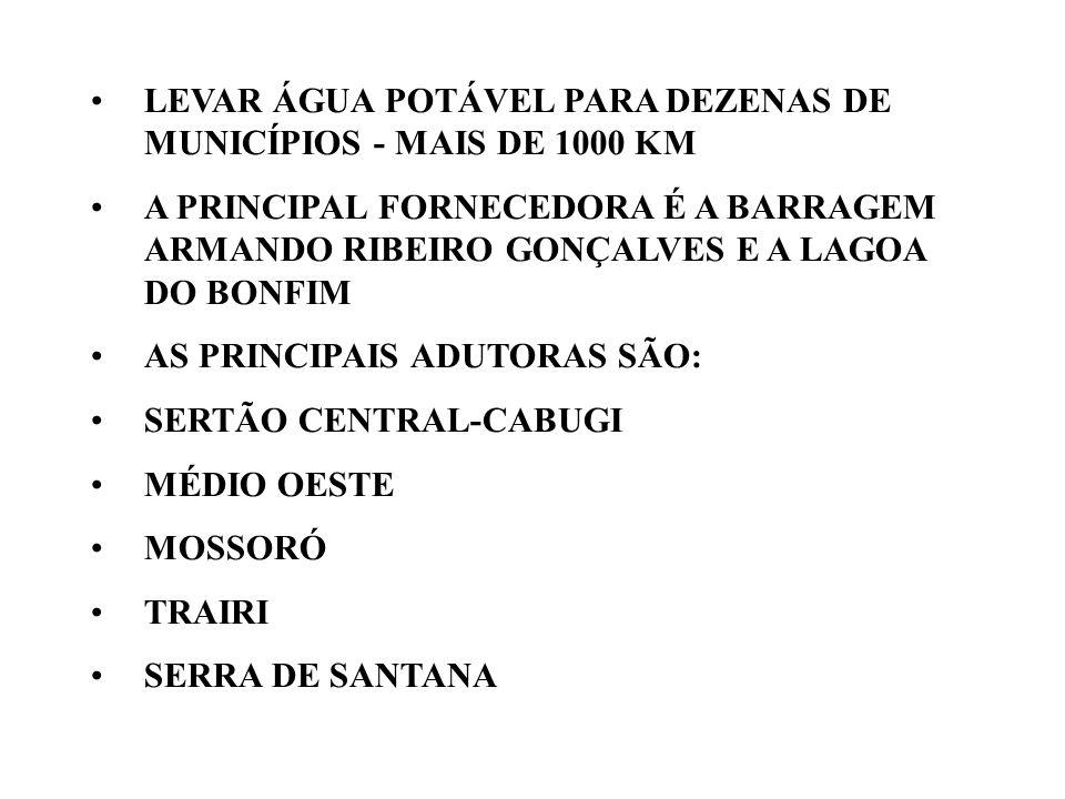 LEVAR ÁGUA POTÁVEL PARA DEZENAS DE MUNICÍPIOS - MAIS DE 1000 KM