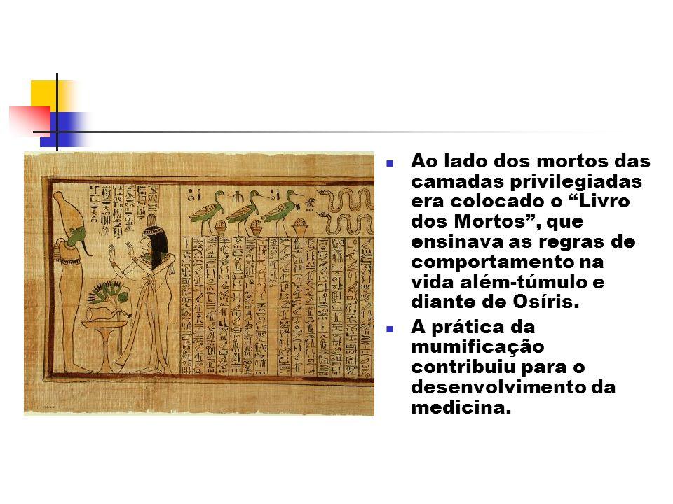 Ao lado dos mortos das camadas privilegiadas era colocado o Livro dos Mortos , que ensinava as regras de comportamento na vida além-túmulo e diante de Osíris.