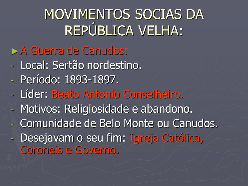 MOVIMENTOS SOCIAS DA REPÚBLICA VELHA: