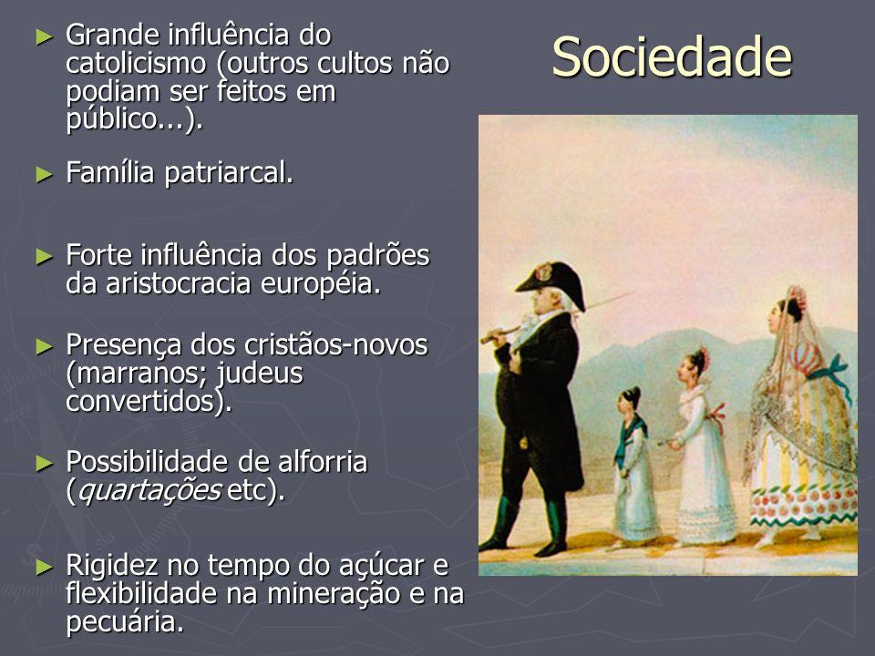 SociedadeGrande influência do catolicismo (outros cultos não podiam ser feitos em público...). Família patriarcal.