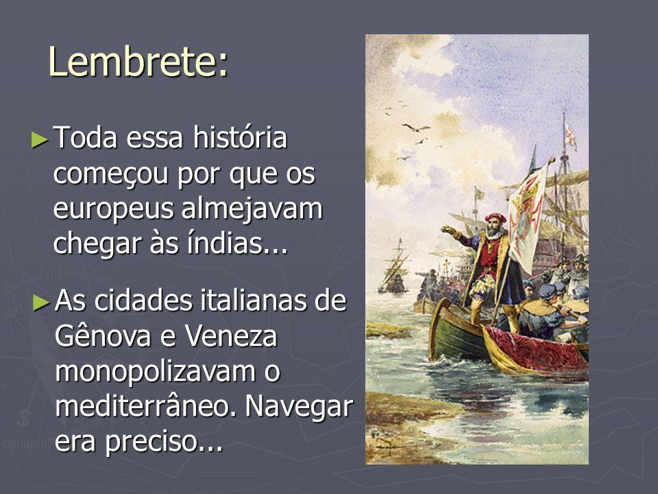 Lembrete:Toda essa história começou por que os europeus almejavam chegar às índias...