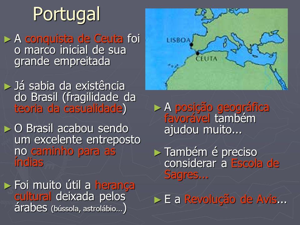 PortugalA conquista de Ceuta foi o marco inicial de sua grande empreitada. Já sabia da existência do Brasil (fragilidade da teoria da casualidade)