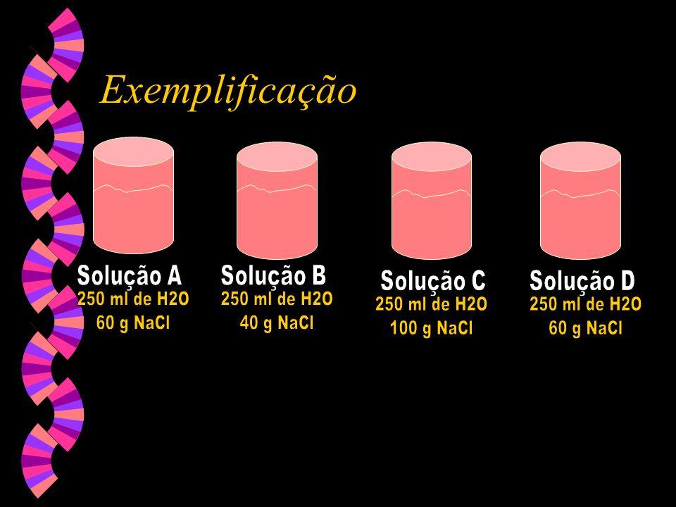 Exemplificação 250 ml de H2O 60 g NaCl 250 ml de H2O 40 g NaCl