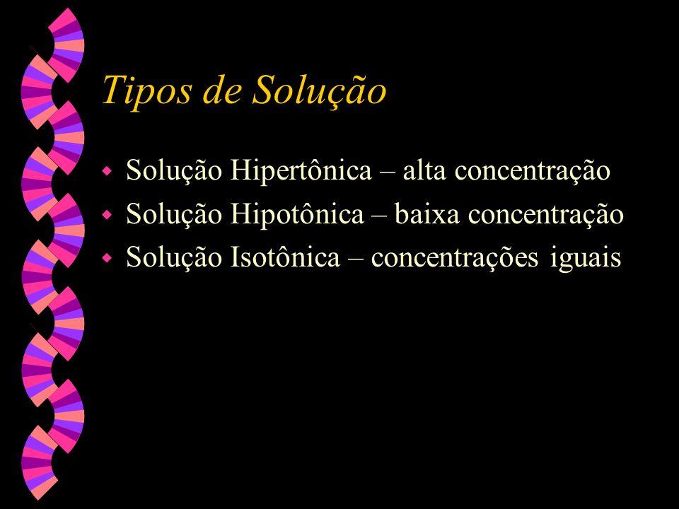 Tipos de Solução Solução Hipertônica – alta concentração
