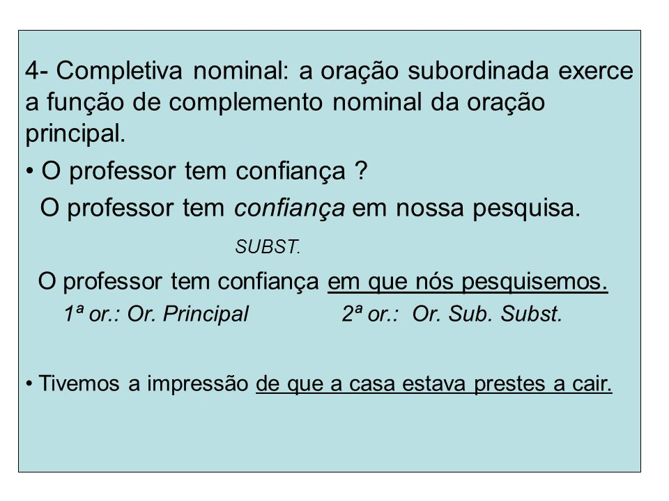 O professor tem confiança