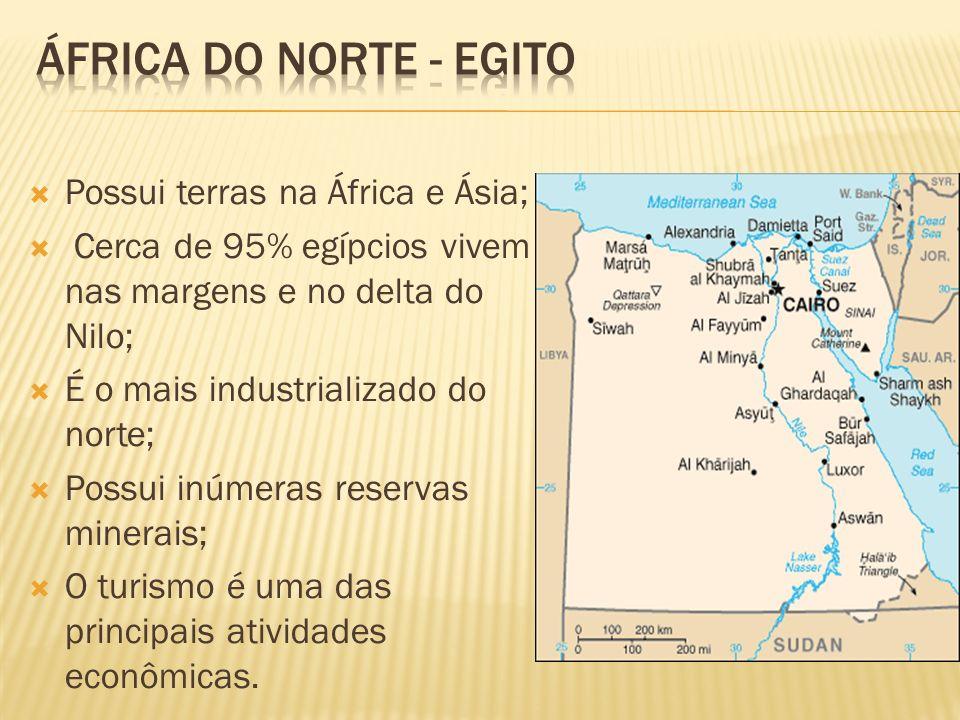 África do norte - egito Possui terras na África e Ásia;