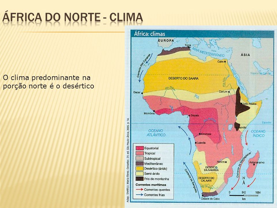 ÁFRICA DO NORTE - clima O clima predominante na porção norte é o desértico