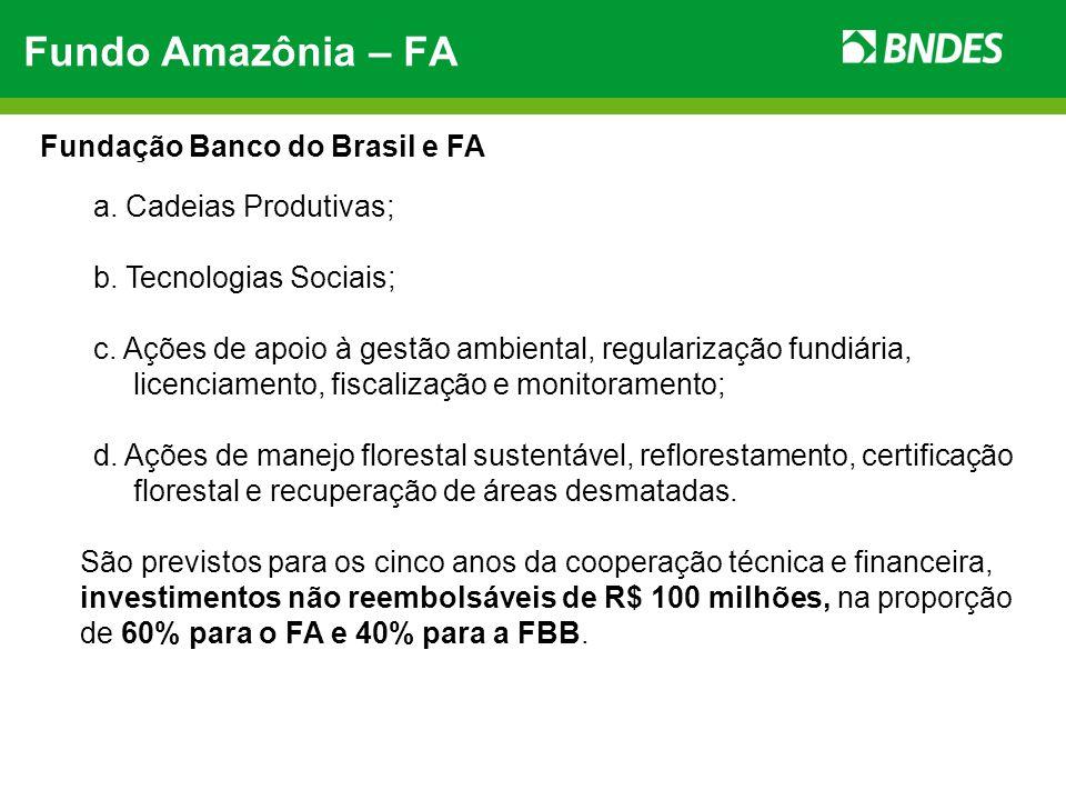 Fundo Amazônia – FA Fundação Banco do Brasil e FA
