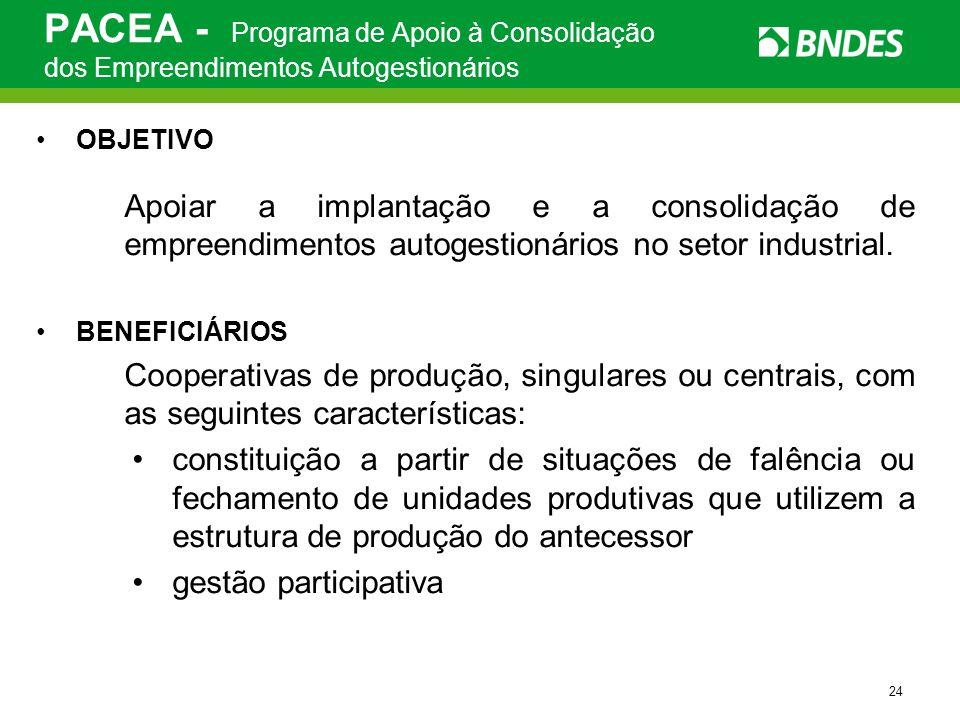 PACEA - Programa de Apoio à Consolidação dos Empreendimentos Autogestionários