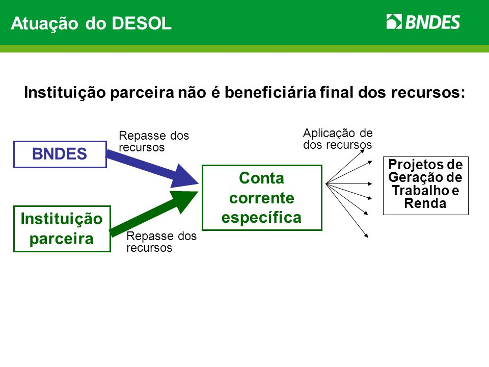 Atuação do DESOLInstituição parceira não é beneficiária final dos recursos: Repasse dos recursos. Aplicação de dos recursos.