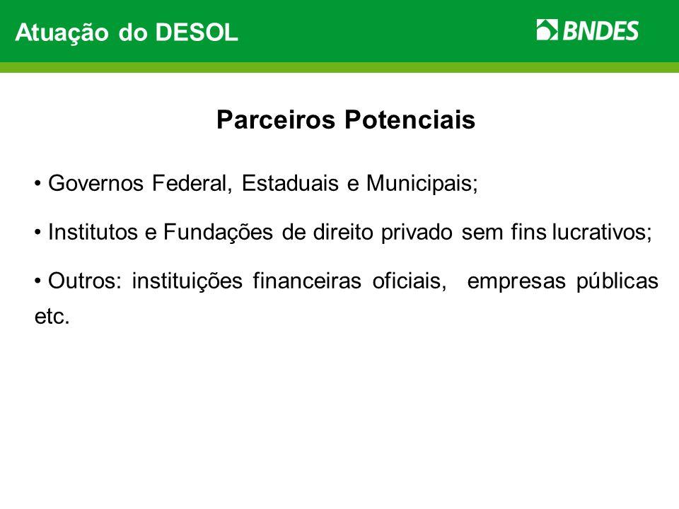 Parceiros Potenciais Atuação do DESOL
