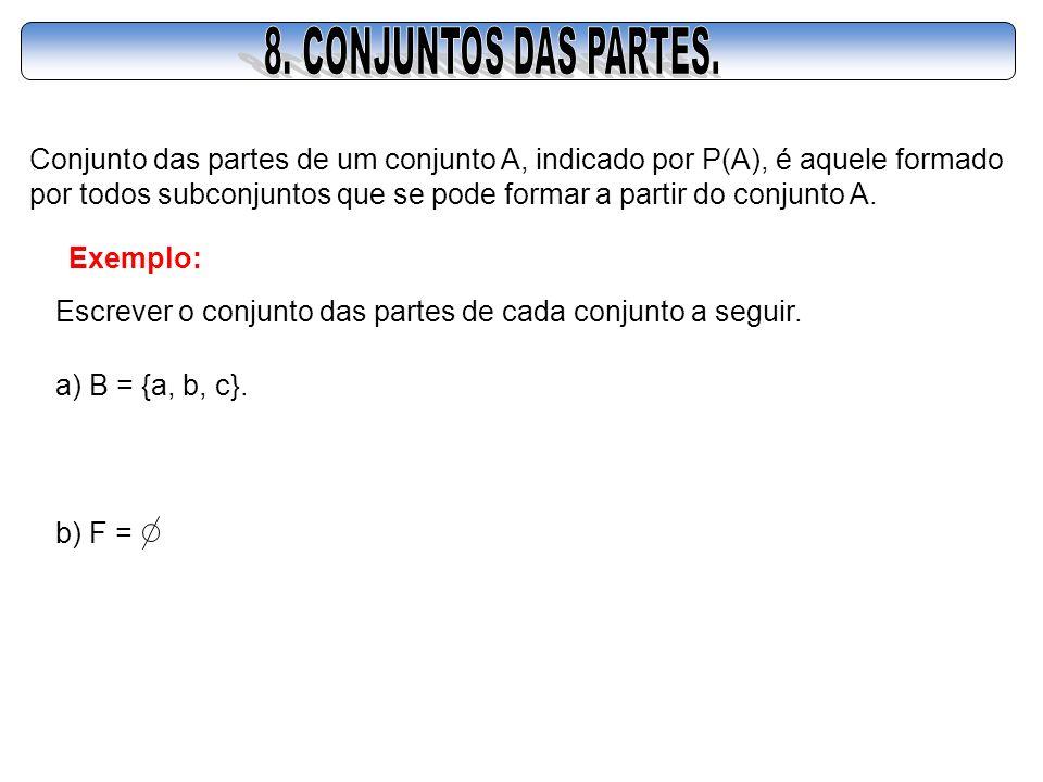 8. CONJUNTOS DAS PARTES. Conjunto das partes de um conjunto A, indicado por P(A), é aquele formado.