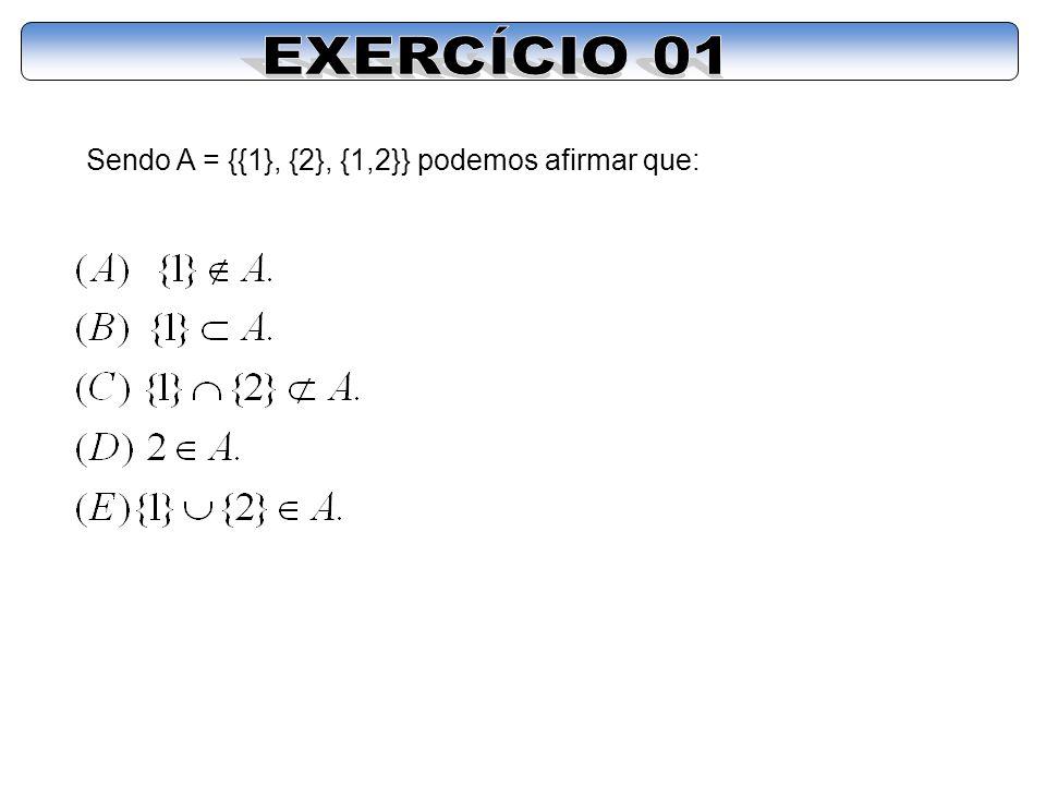 EXERCÍCIO 01 Sendo A = {{1}, {2}, {1,2}} podemos afirmar que: