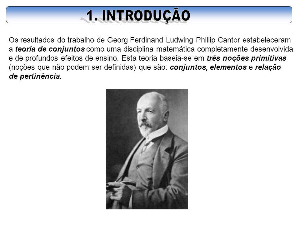 1. INTRODUÇÃO Os resultados do trabalho de Georg Ferdinand Ludwing Phillip Cantor estabeleceram.