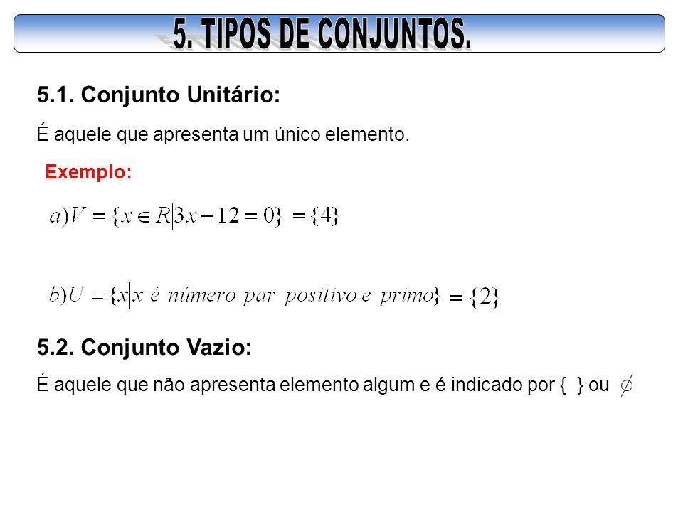 5. TIPOS DE CONJUNTOS. 5.1. Conjunto Unitário: 5.2. Conjunto Vazio: