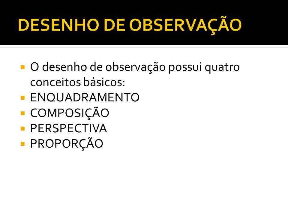 DESENHO DE OBSERVAÇÃO O desenho de observação possui quatro conceitos básicos: ENQUADRAMENTO. COMPOSIÇÃO.