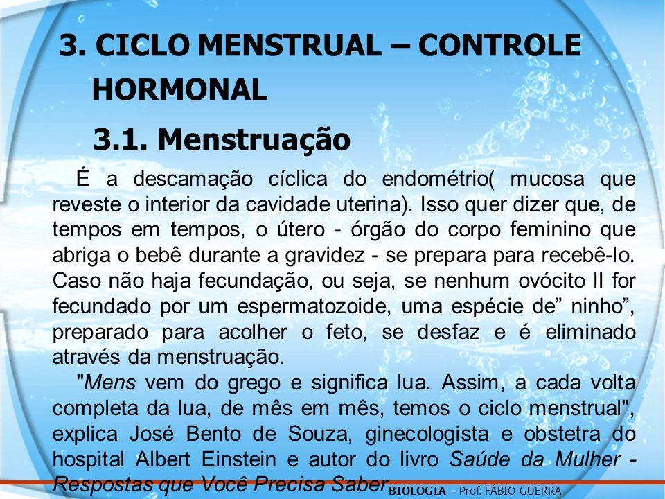 3. CICLO MENSTRUAL – CONTROLE HORMONAL