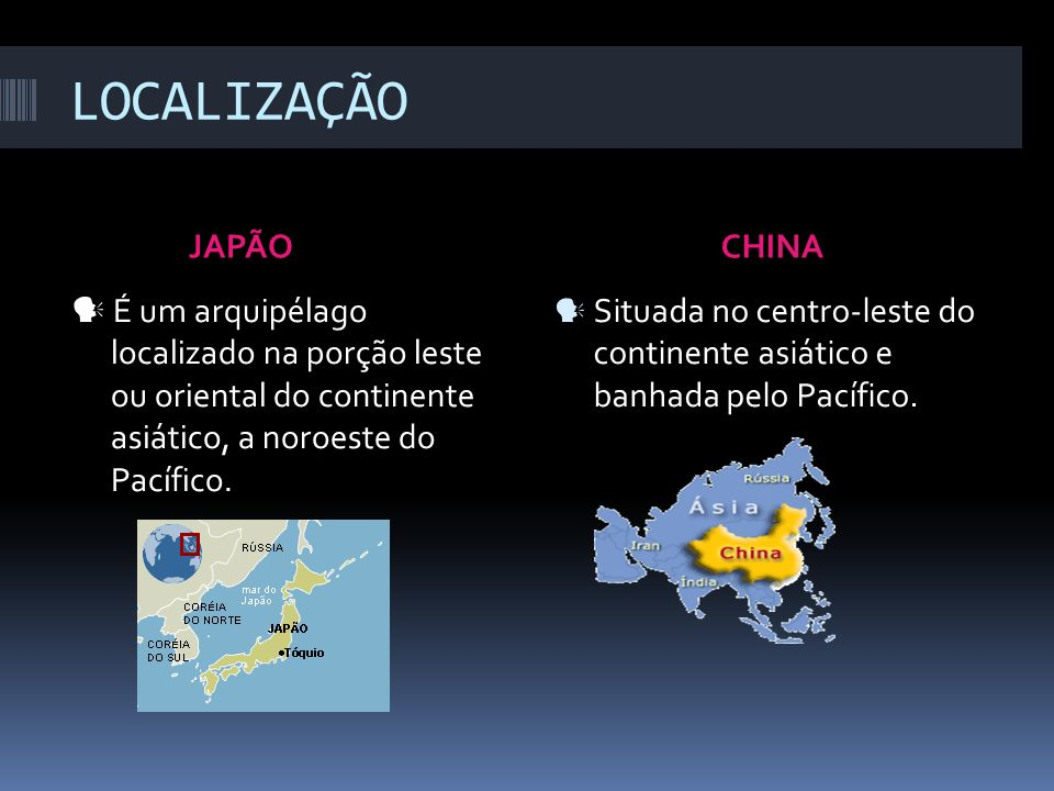 LOCALIZAÇÃO JAPÃO CHINA