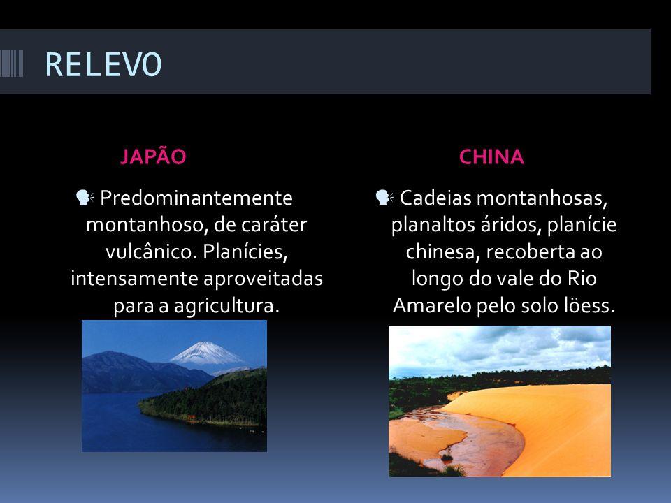 RELEVOJAPÃO. CHINA. Predominantemente montanhoso, de caráter vulcânico. Planícies, intensamente aproveitadas para a agricultura.