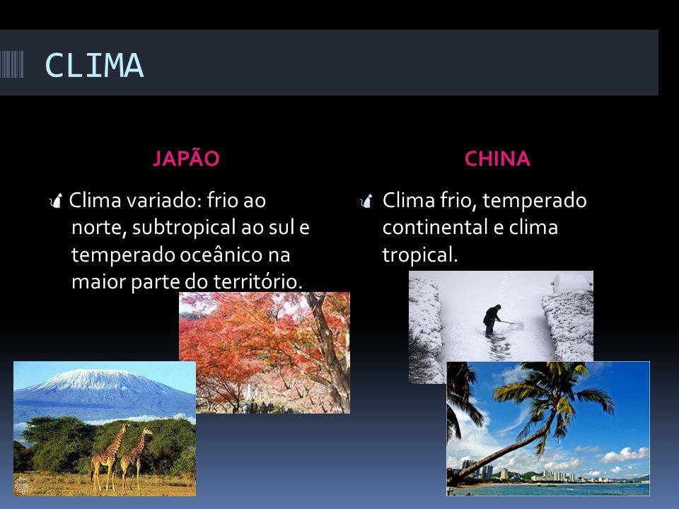 CLIMA JAPÃO. CHINA. Clima variado: frio ao norte, subtropical ao sul e temperado oceânico na maior parte do território.