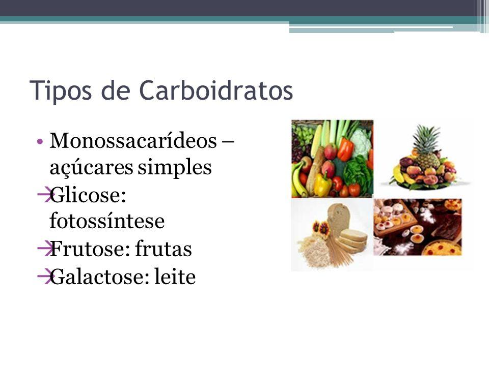 Tipos de Carboidratos Monossacarídeos – açúcares simples