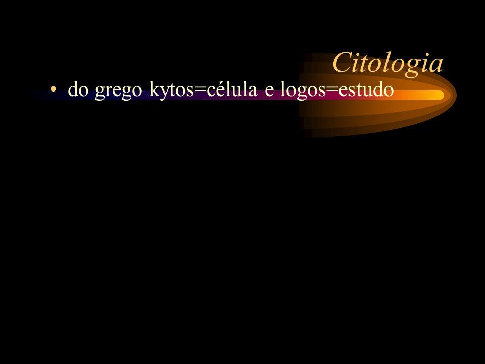 Citologia do grego kytos=célula e logos=estudo