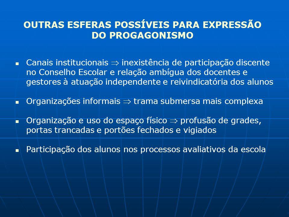 OUTRAS ESFERAS POSSÍVEIS PARA EXPRESSÃO DO PROGAGONISMO