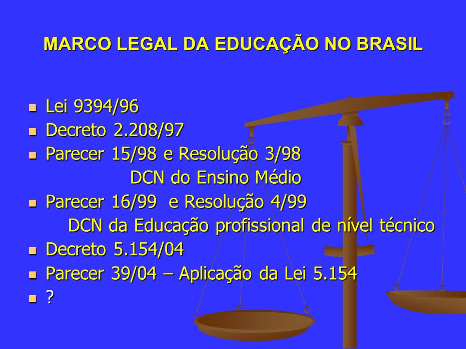 MARCO LEGAL DA EDUCAÇÃO NO BRASIL