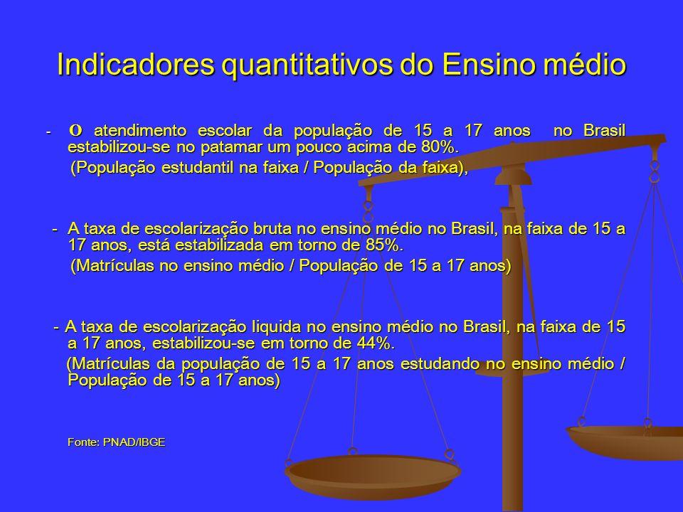 Indicadores quantitativos do Ensino médio