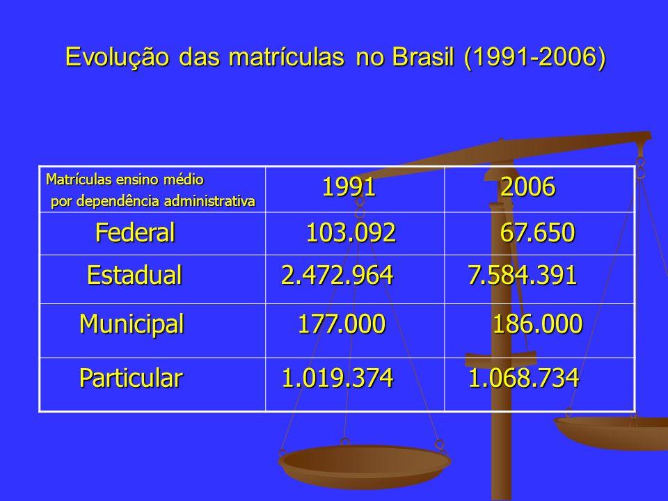 Evolução das matrículas no Brasil (1991-2006)