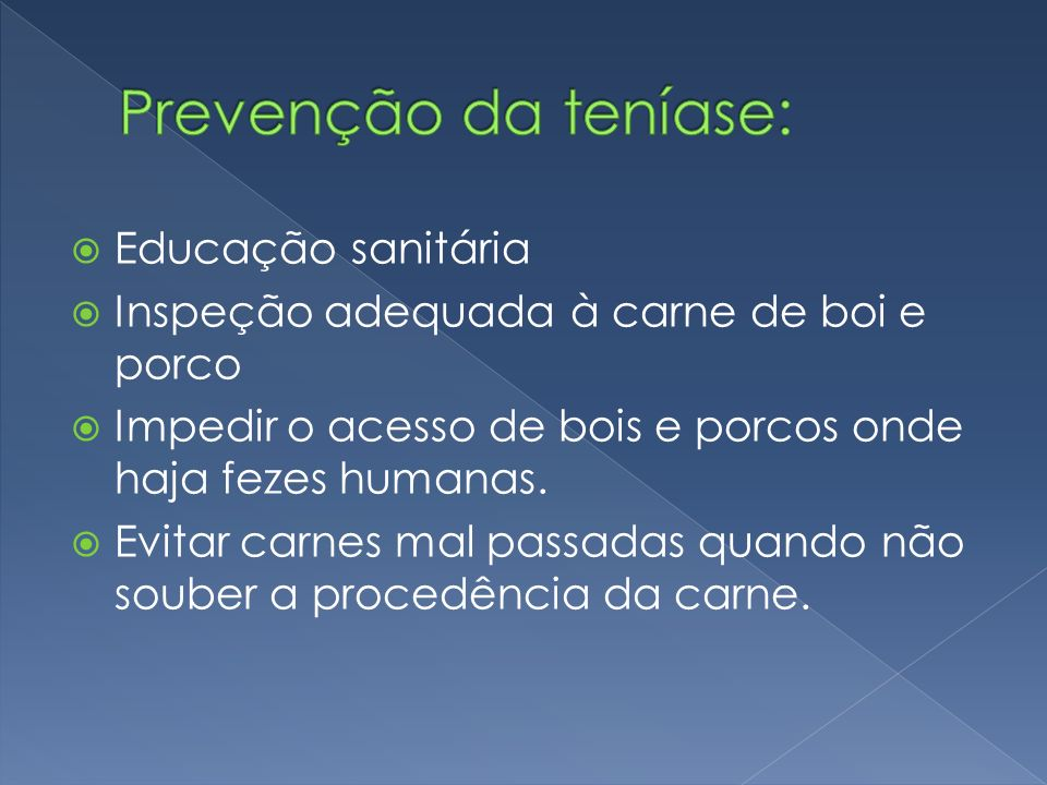 Prevenção da teníase: Educação sanitária