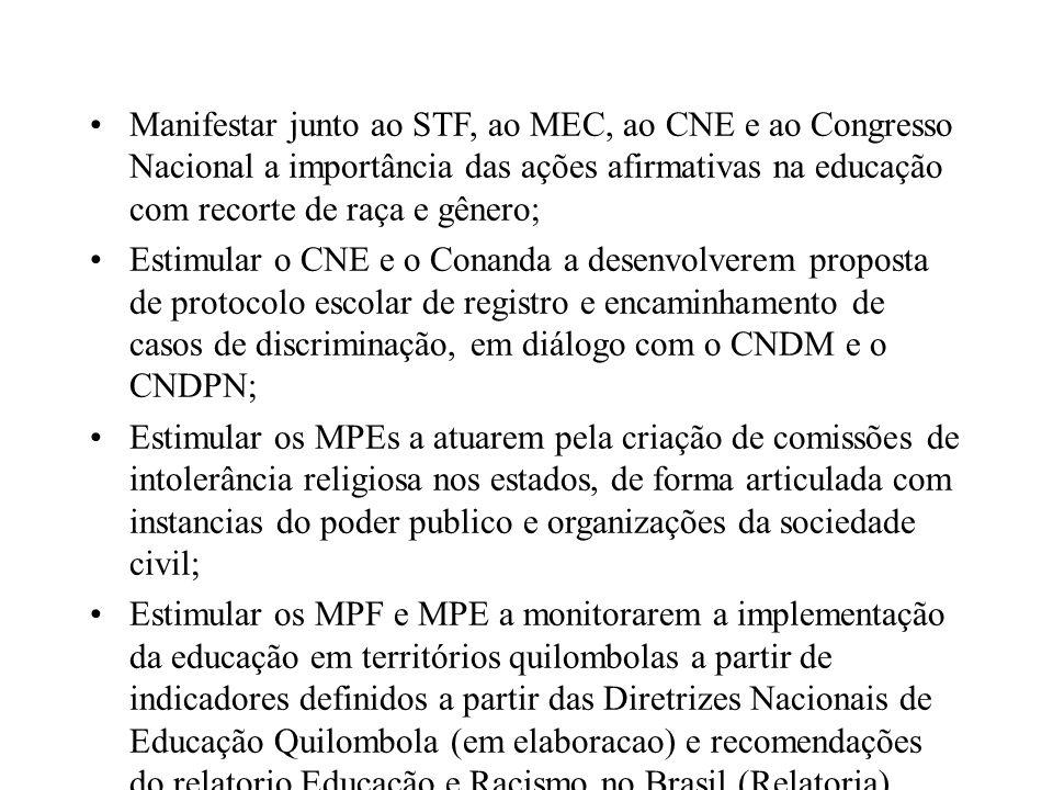 Manifestar junto ao STF, ao MEC, ao CNE e ao Congresso Nacional a importância das ações afirmativas na educação com recorte de raça e gênero;