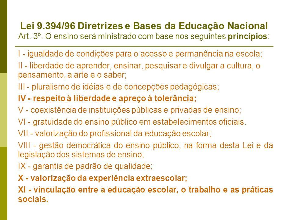 Lei 9. 394/96 Diretrizes e Bases da Educação Nacional Art. 3º