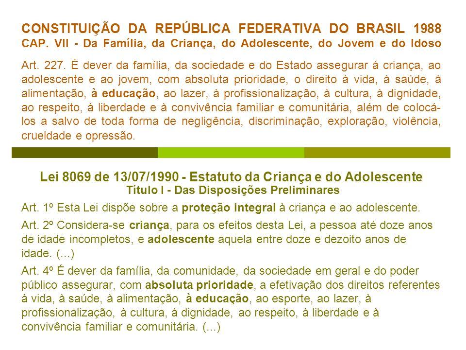 CONSTITUIÇÃO DA REPÚBLICA FEDERATIVA DO BRASIL 1988 CAP