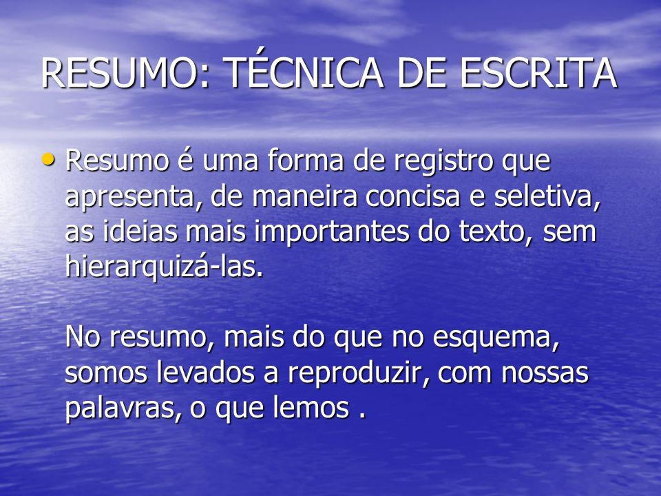 RESUMO: TÉCNICA DE ESCRITA