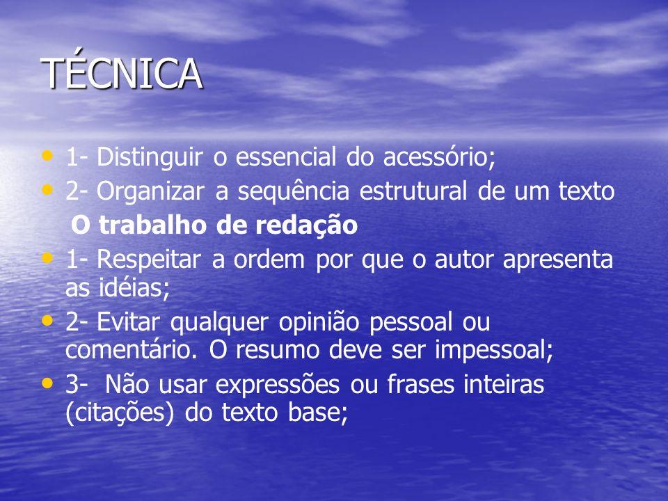 TÉCNICA 1- Distinguir o essencial do acessório;