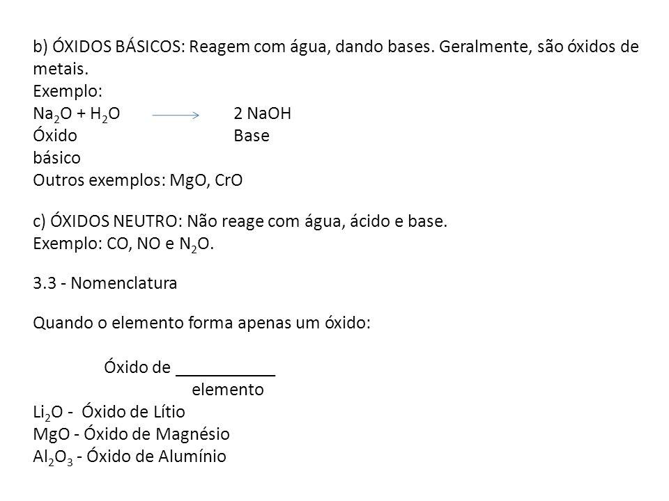 b) ÓXIDOS BÁSICOS: Reagem com água, dando bases