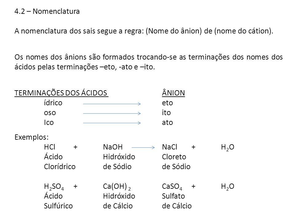 4.2 – NomenclaturaA nomenclatura dos sais segue a regra: (Nome do ânion) de (nome do cátion).