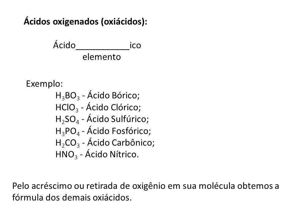 Ácidos oxigenados (oxiácidos):