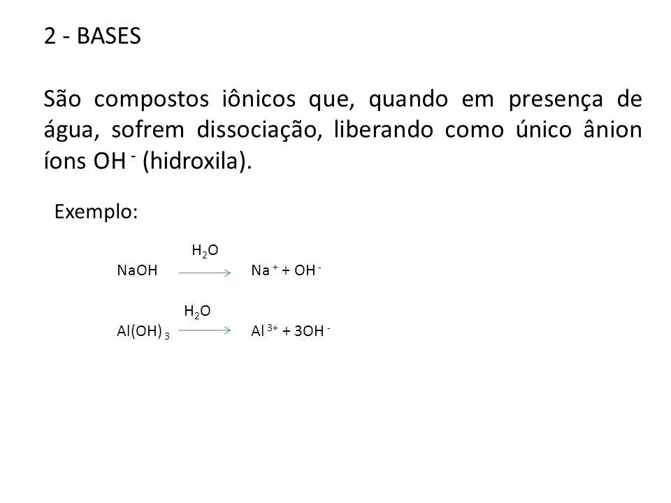 2 - BASES São compostos iônicos que, quando em presença de água, sofrem dissociação, liberando como único ânion íons OH - (hidroxila).