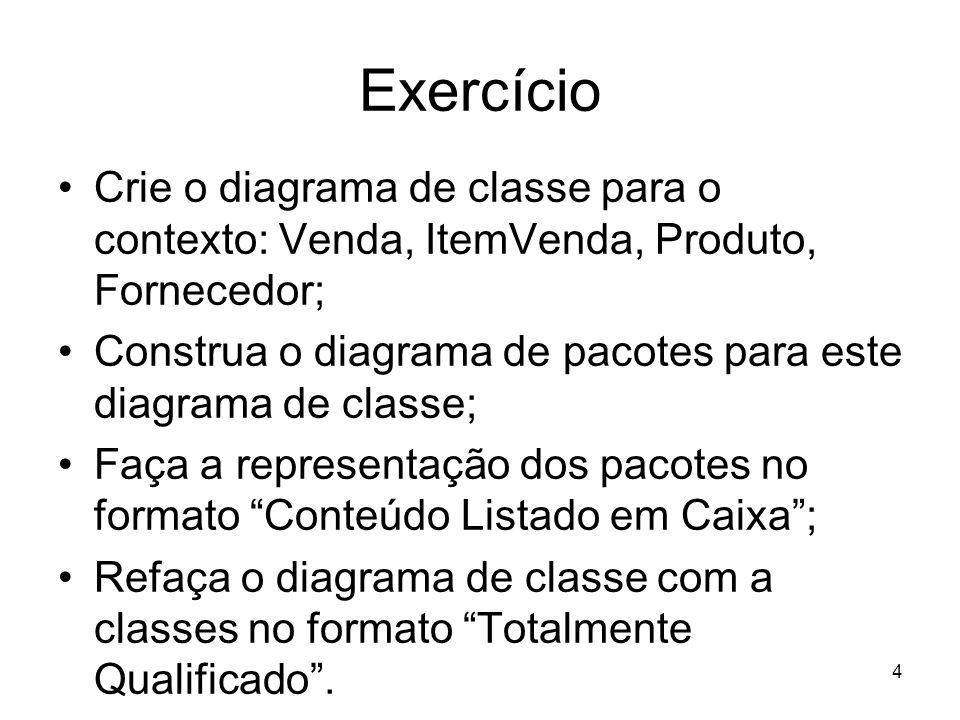 Exercício Crie o diagrama de classe para o contexto: Venda, ItemVenda, Produto, Fornecedor;