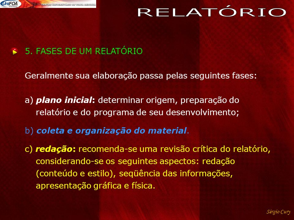 RELATÓRIO 5. FASES DE UM RELATÓRIO