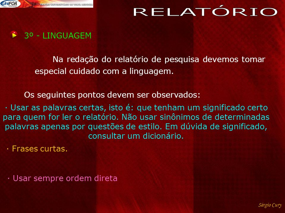 RELATÓRIO 3º - LINGUAGEM