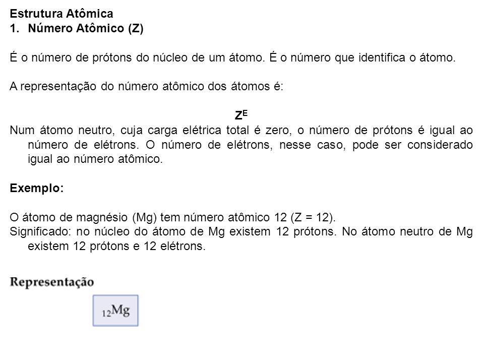 Estrutura Atômica Número Atômico (Z) É o número de prótons do núcleo de um átomo. É o número que identifica o átomo.