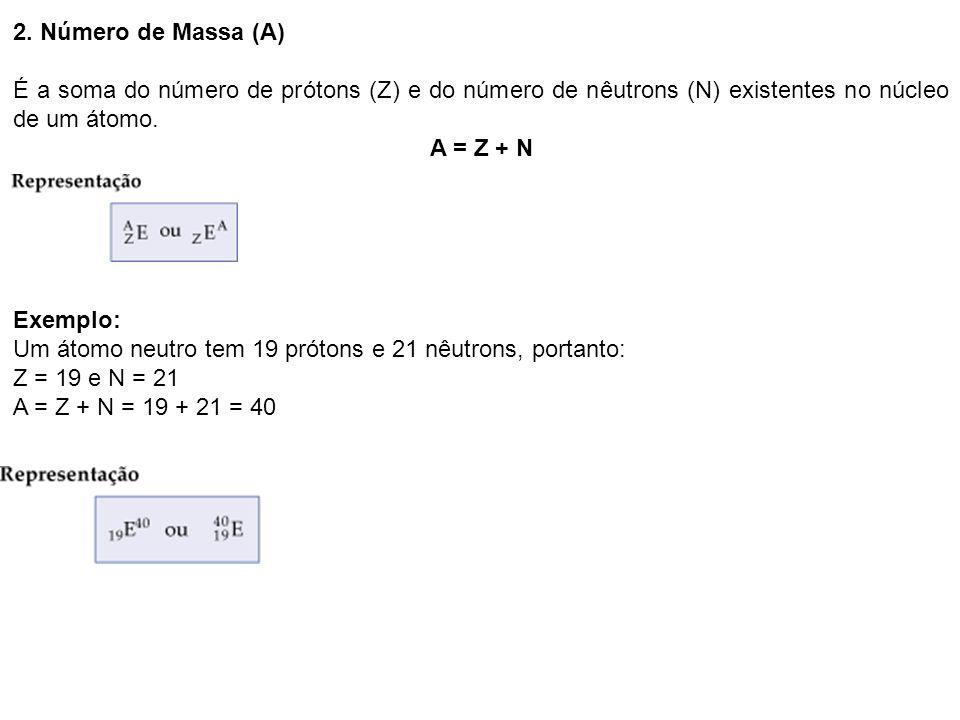 2. Número de Massa (A) É a soma do número de prótons (Z) e do número de nêutrons (N) existentes no núcleo de um átomo.