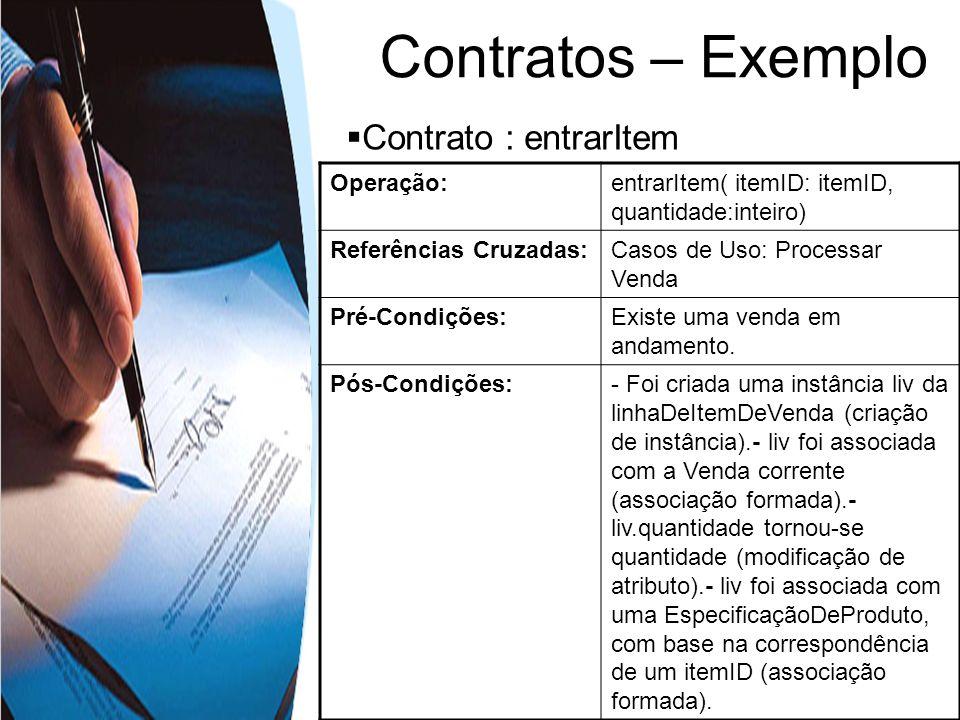 Contratos – Exemplo Contrato : entrarItem Operação: