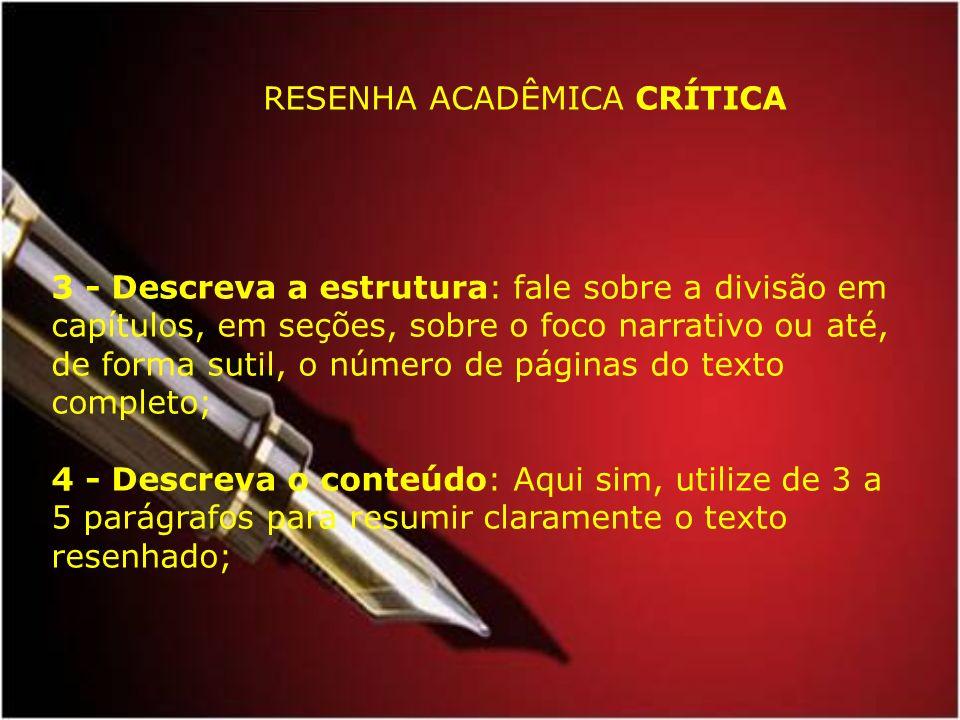 RESENHA ACADÊMICA CRÍTICA