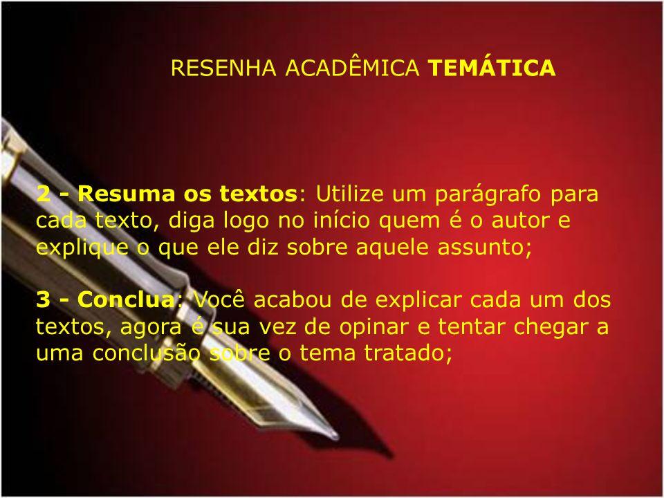 RESENHA ACADÊMICA TEMÁTICA
