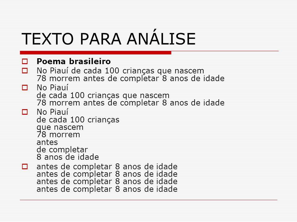 TEXTO PARA ANÁLISE Poema brasileiro