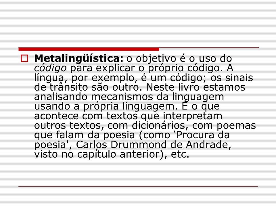 Metalingüística: o objetivo é o uso do código para explicar o próprio código.